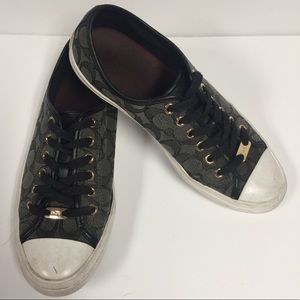 🌿3/$18🌿COACH New York Empire Black Gold Sneakers